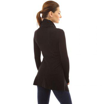 Women's Buckle Braid Front Cardigan - BLACK S