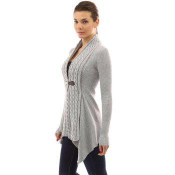 Women's Buckle Braid Front Cardigan - GRAY S