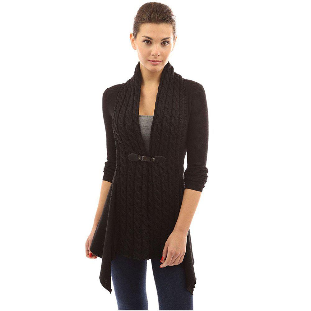 Women's Buckle Braid Front Cardigan - BLACK M