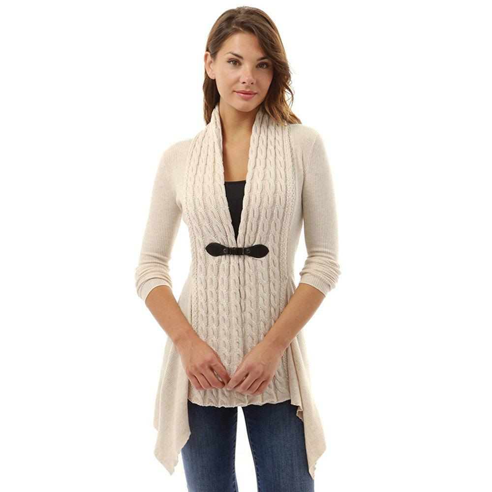 Women's Buckle Braid Front Cardigan - BEIGE L