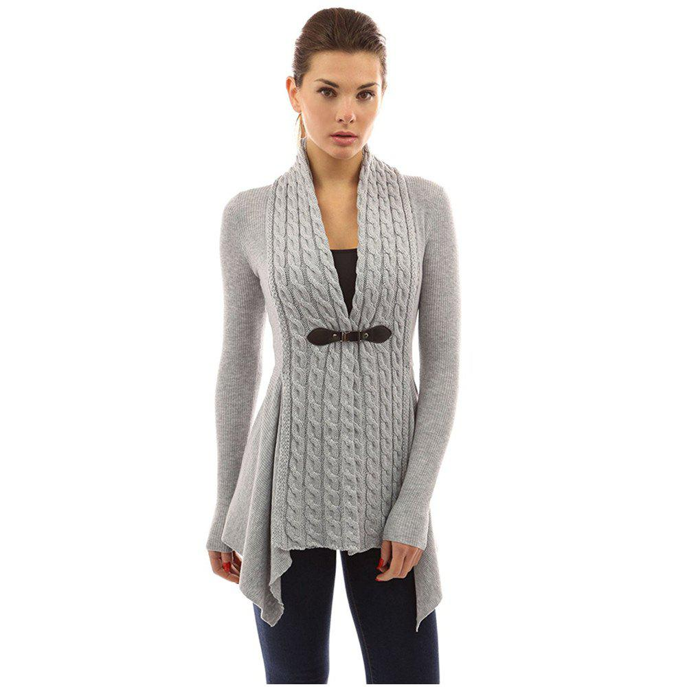 Women's Buckle Braid Front Cardigan - GRAY XL
