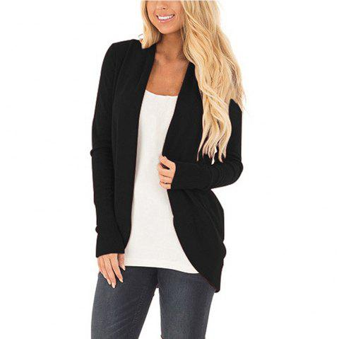 Women Long Sleeve Open Font Kimono Cardigan Knitwear - BLACK L