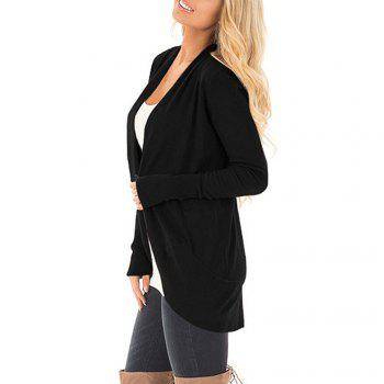 Women Long Sleeve Open Font Kimono Cardigan Knitwear - BLACK S