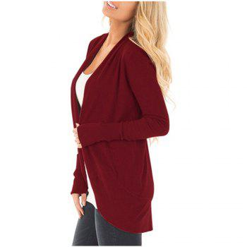 Women Long Sleeve Open Font Kimono Cardigan Knitwear - WINE RED S