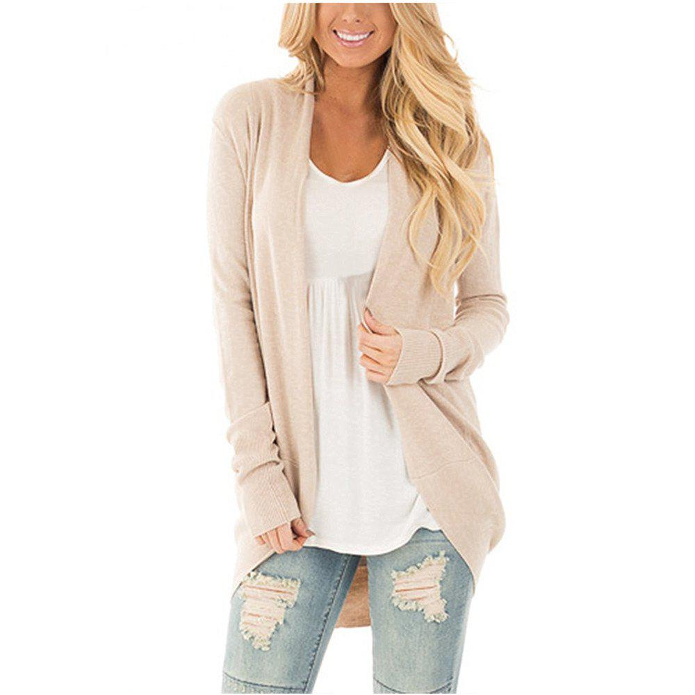 Women Long Sleeve Open Font Kimono Cardigan Knitwear - BEIGE M