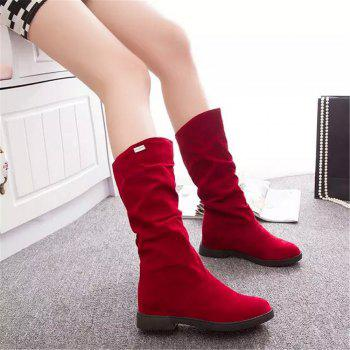 Graceful Solid Color Flat Sole Ladies High Leg Boots - RED 38