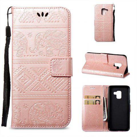 Cover Case for Samsung Galaxy A8 2018 Multi-Functional Faux Leather Wallet Stand - GOLDEN