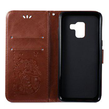 Cover Case for Samsung Galaxy A8 2018 Multi-Functional Faux Leather Wallet Stand - BROWN