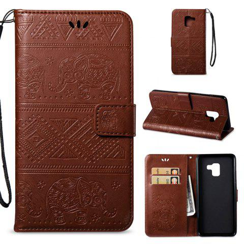 Cover Case for Samsung Galaxy A8 Plus 2018 Multi-Functional Faux Leather Wallet Stand - BROWN