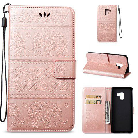 Cover Case for Samsung Galaxy A8 Plus 2018 Multi-Functional Faux Leather Wallet Stand - ROSE GOLD