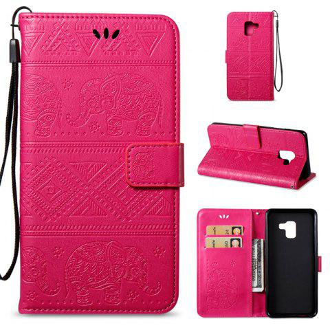 Cover Case for Samsung Galaxy A8 Plus 2018 Multi-Functional Faux Leather Wallet Stand - ROSE RED