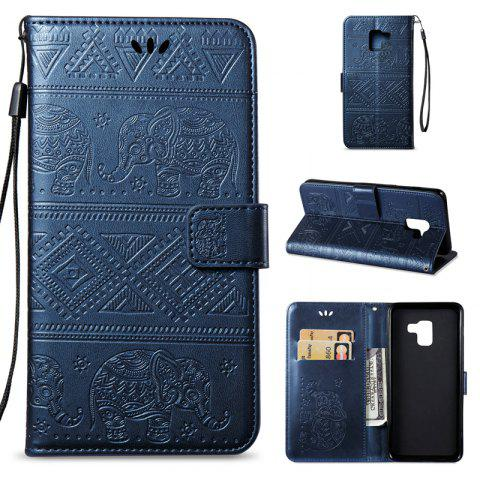 Cover Case for Samsung Galaxy A8 Plus 2018 Multi-Functional Faux Leather Wallet Stand - DEEP BLUE