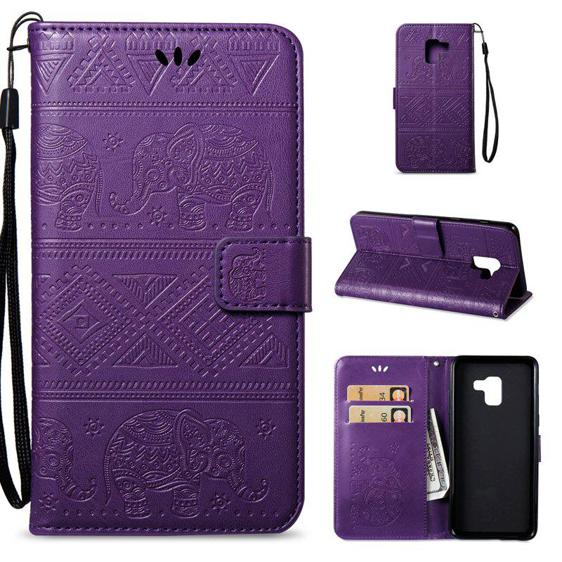 Cover Case for Samsung Galaxy A8 Plus 2018 Multi-Functional Faux Leather Wallet Stand - PURPLE