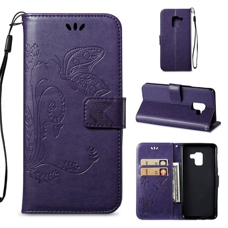 Cover Case for Samsung Galaxy A8 2018 Butterfly and Floral Leather - PURPLE