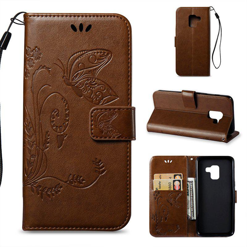 Cover Case for Samsung Galaxy A8 2018 Butterfly and Floral Leather - LIGHT BROWN
