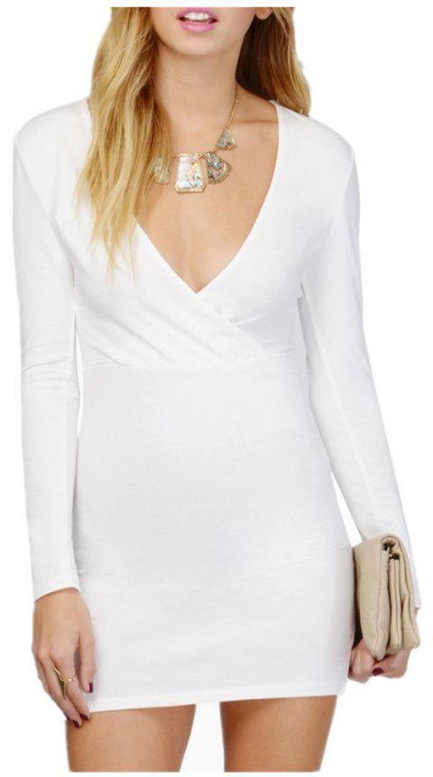 Sexy Deep V Collar Intersecting Long Sleeved Dress - WHITE M