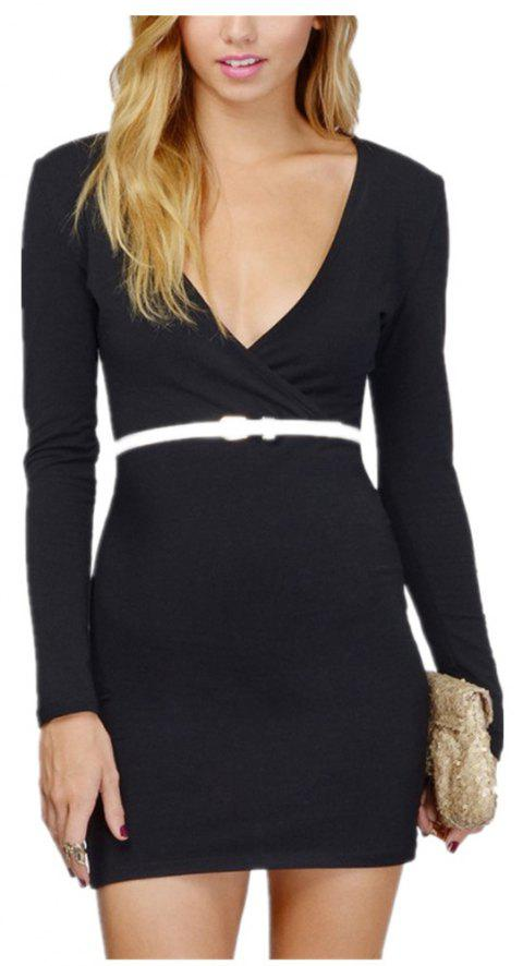 Sexy Deep V Collar Intersecting Long Sleeved Dress - BLACK XL