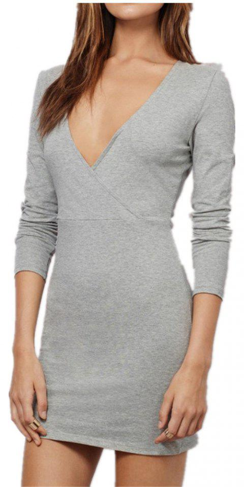 Sexy Deep V Collar Intersecting Long Sleeve Dress - Gris M