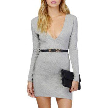 Sexy Deep V Collar Intersecting Long Sleeved Dress - GRAY XL
