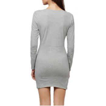 Sexy Deep V Collar Intersecting Long Sleeve Dress - gris XL