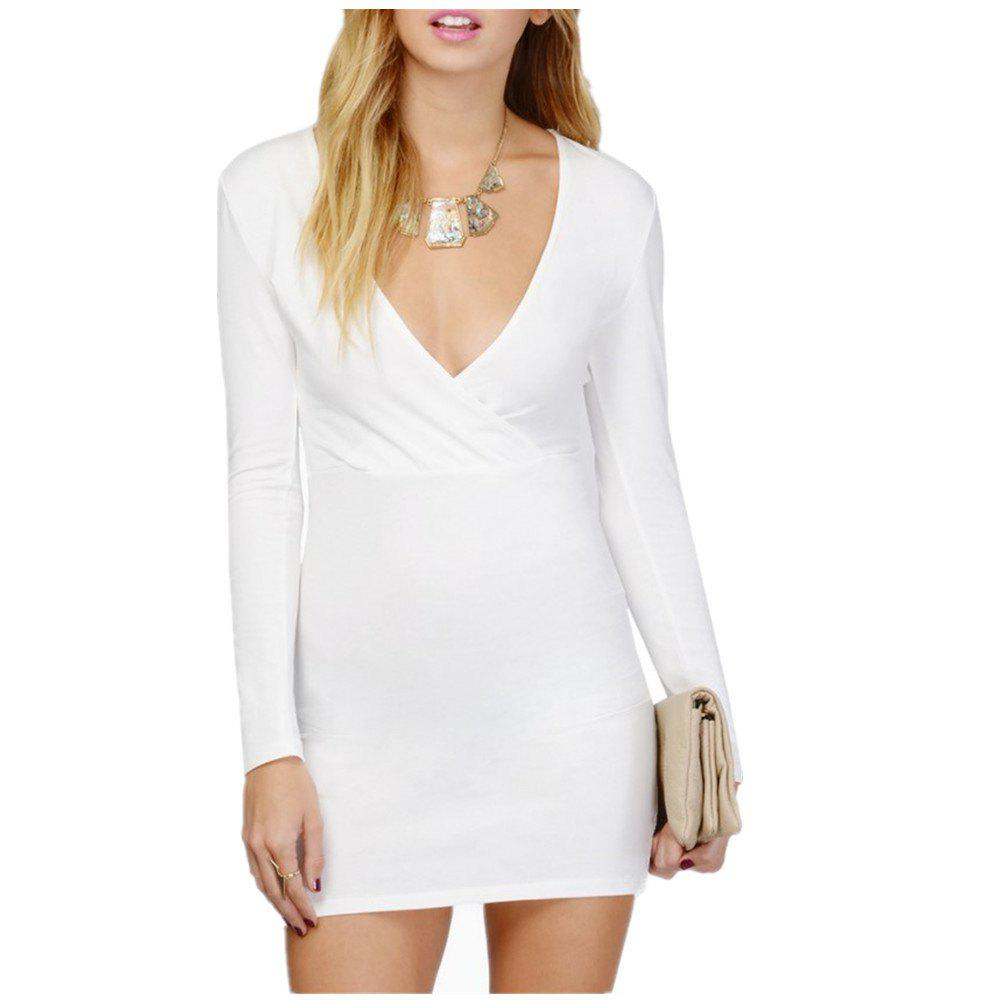 Sexy Deep V Collar Intersecting Long Sleeve Dress - Blanc S