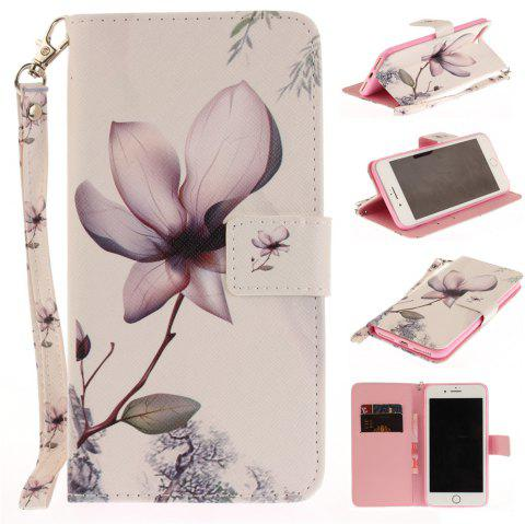 Cover Case for IPhone 7 Plus Magnolia PU+TPU Leather with Stand and Card Slots Magnetic Closure - WHITE