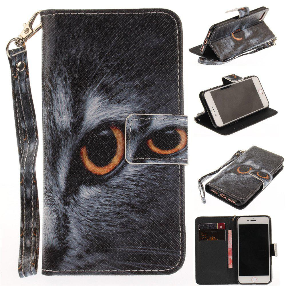 Cover Case for IPhone 7 Half A Face of A Cat PU+TPU Leather with Stand and Card Slots Magnetic Closure - BLACK