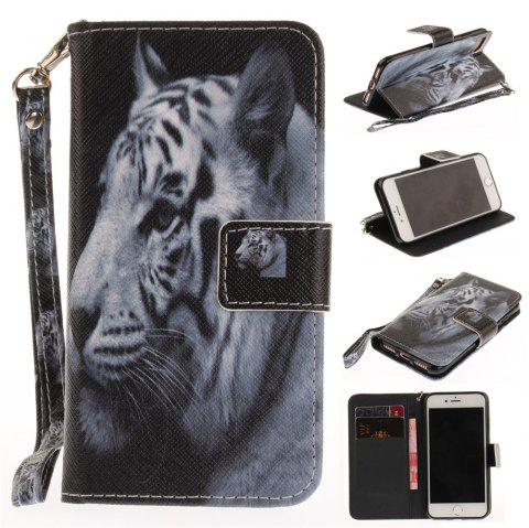 Cover Case for IPhone 7 The White Tiger PU+TPU Leather with Stand and Card Slots Magnetic Closure - WHITE