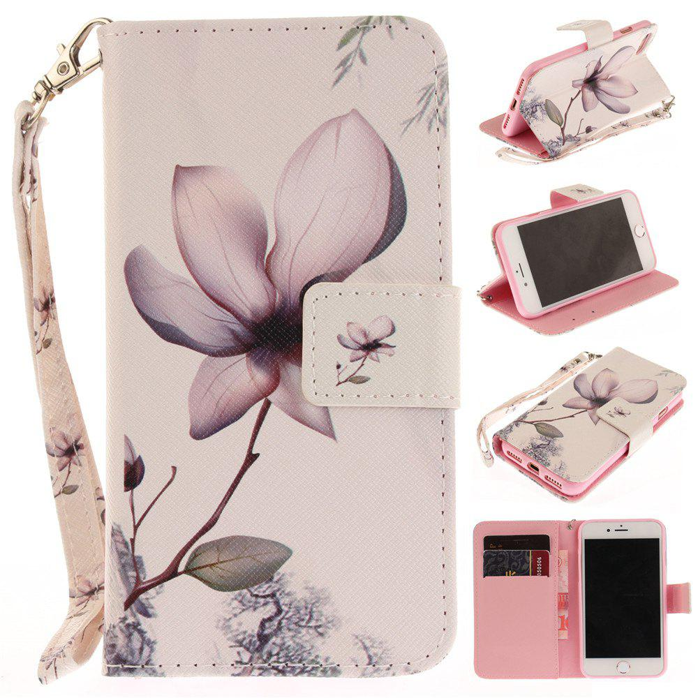 Cover Case for IPhone 7 Magnolia PU+TPU Leather with Stand and Card Slots Magnetic Closure - WHITE