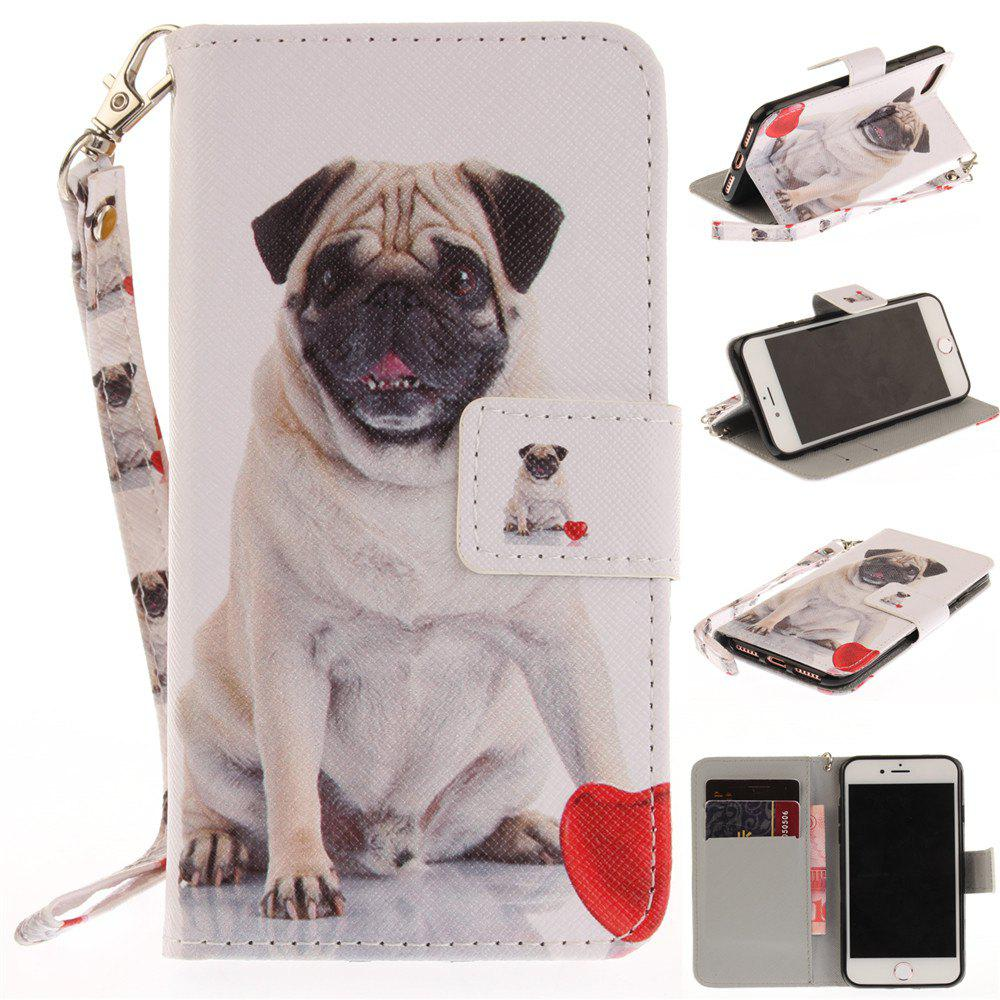 Cover Case for IPhone 7 Pug PU+TPU Leather with Stand and Card Slots Magnetic Closure - WHITE