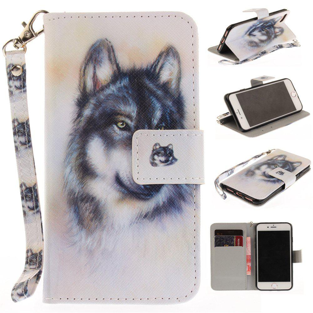Cover Case for IPhone 7 Wolf PU+TPU Leather with Stand and Card Slots Magnetic Closure - WHITE