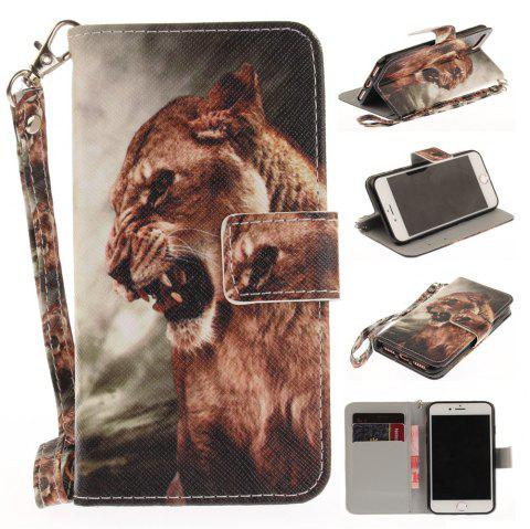 Cover Case for IPhone 7 A Male Lion PU+TPU Leather with Stand and Card Slots Magnetic Closure - COLORMIX