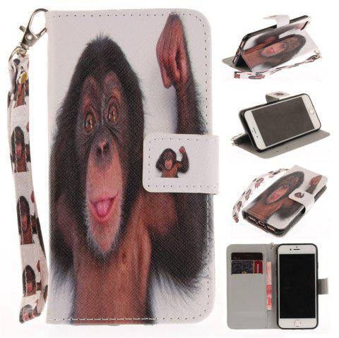 Cover Case for IPhone 7 Monkey PU+TPU Leather with Stand and Card Slots Magnetic Closure - BLACK