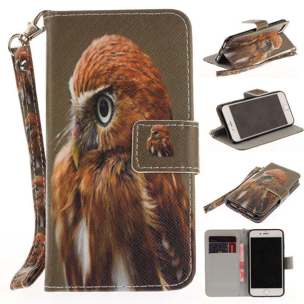 Cover Case for IPhone 7 Young Eagles PU+TPU Leather with Stand and Card Slots Magnetic Closure - COLORMIX