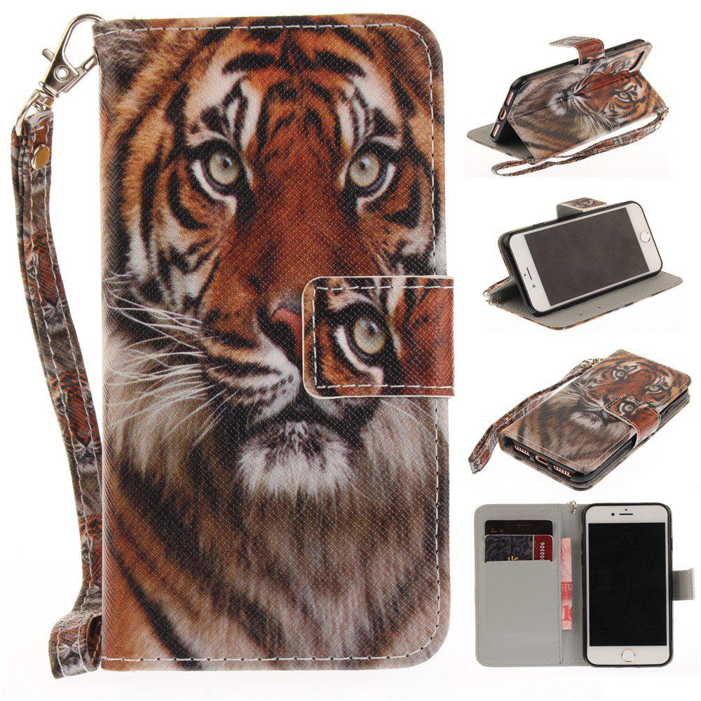 Cover Case for IPhone 7 Manchurian Tiger PU+TPU Leather with Stand and Card Slots Magnetic Closure - COLORMIX
