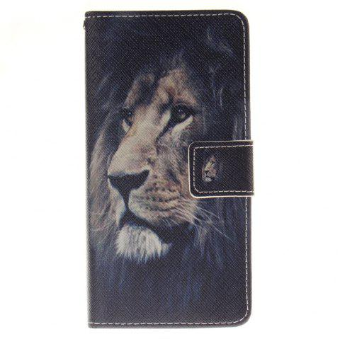Cover Case for BQ M5 Lion PU+TPU Leather with Stand and Card Slots Magnetic Closure - BLACK
