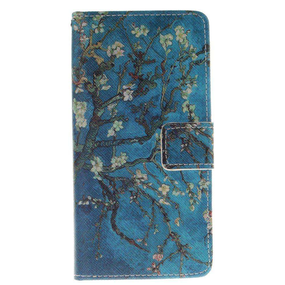 Cover Case for BQ M5 Apricot Blossom Tree PU+TPU Leather with Stand and Card Slots Magnetic Closure - BLUE
