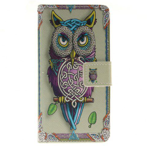 Cover Case for BQ M5 Owl PU+TPU Leather with Stand and Card Slots Magnetic Closure - YELLOW