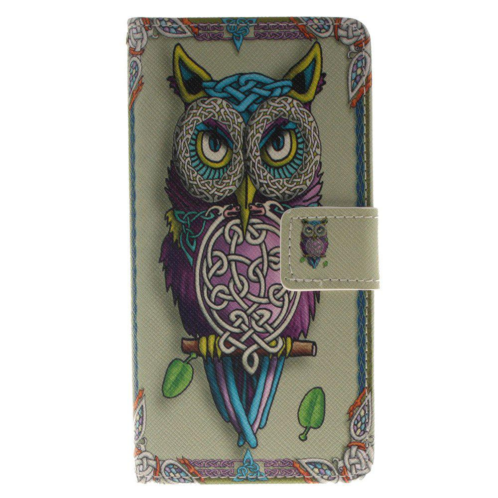 Cover Case for BQ X5 Owl PU+TPU Leather with Stand and Card Slots Magnetic Closure - YELLOW