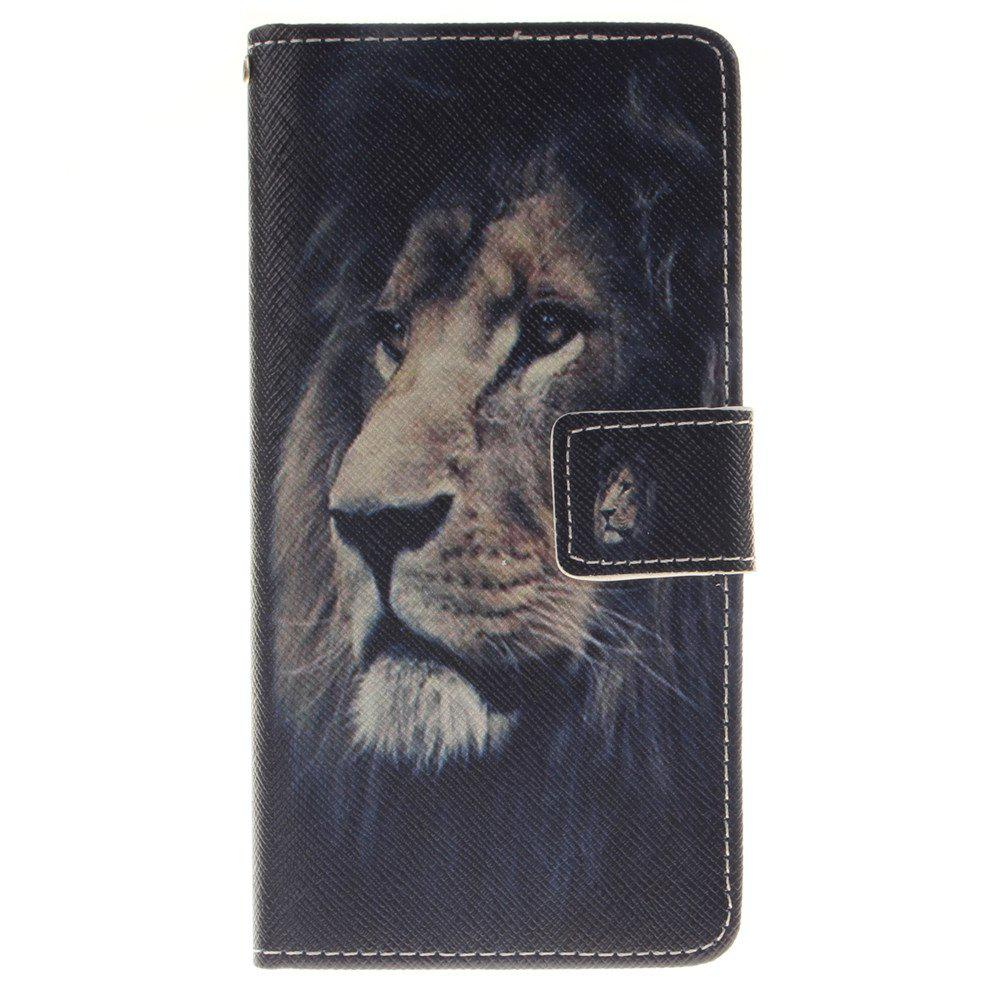 Cover Case for BQ X5 Lion PU+TPU Leather with Stand and Card Slots Magnetic Closure - BLACK
