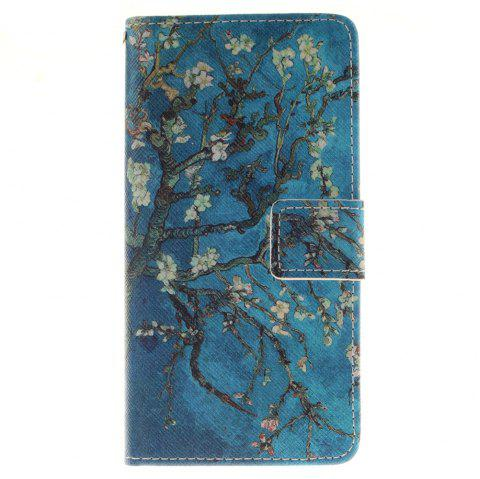 Cover Case for BQ X5 Apricot Blossom Tree PU+TPU Leather with Stand and Card Slots Magnetic Closure - BLUE