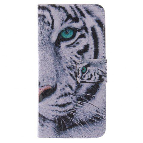 Cover Case for HTC M8 Mini The White Tiger PU+TPU Leather with Stand and Card Slots Magnetic Closure - WHITE