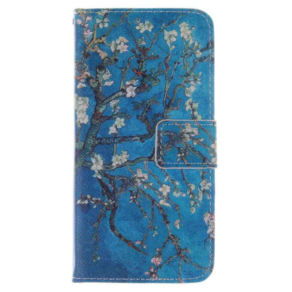 Cover Case for HTC M8 Mini Apricot Blossom Tree PU+TPU Leather with Stand and Card Slots Magnetic Closure - BLUE