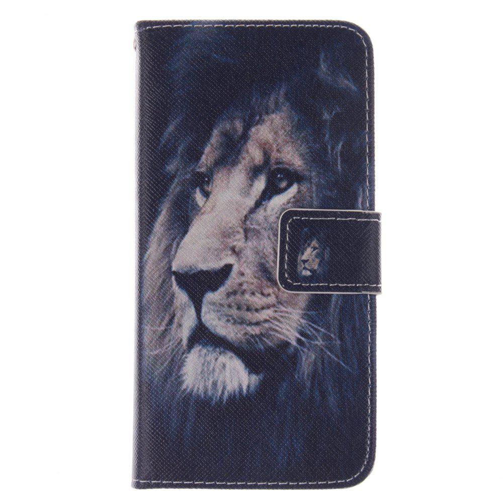 Cover Case for HTC M8 Mini Lion PU+TPU Leather with Stand and Card Slots Magnetic Closure - BLACK