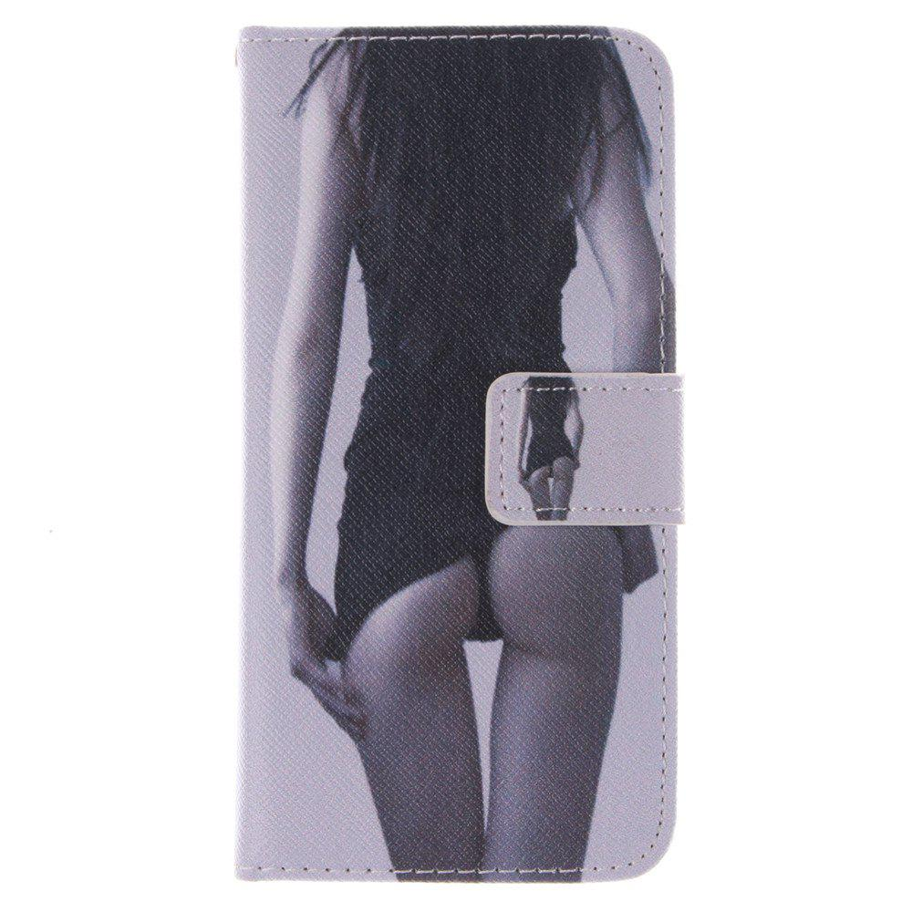 Cover Case for HTC M8 Mini Sexy Girl PU+TPU Leather with Stand and Card Slots Magnetic Closure - BLACK