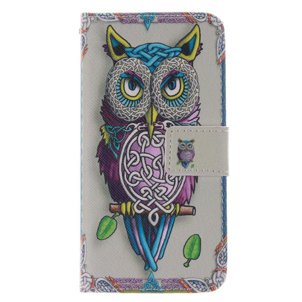 Cover Case for HTC M8 Mini Owl PU+TPU Leather with Stand and Card Slots Magnetic Closure - YELLOW
