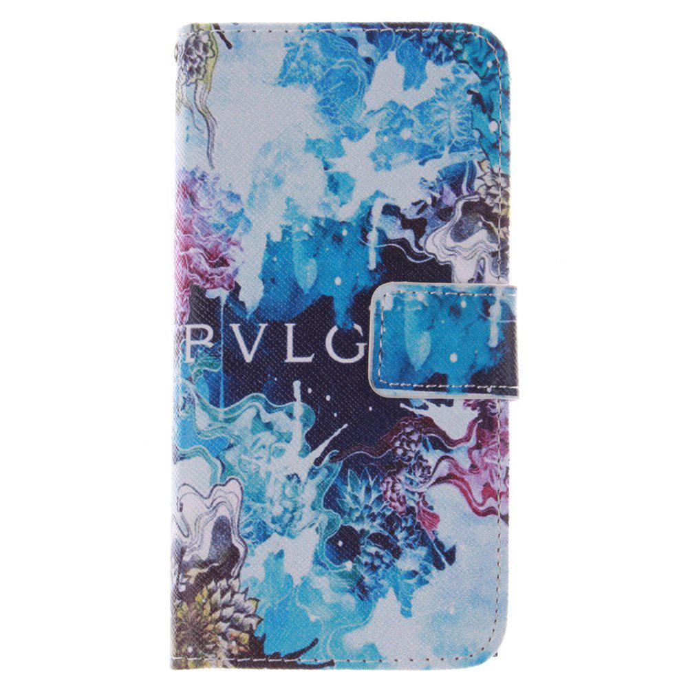 Cover Case for HTC M8 Mini Beautiful Blue PU+TPU Leather with Stand and Card Slots Magnetic Closure - BLUE
