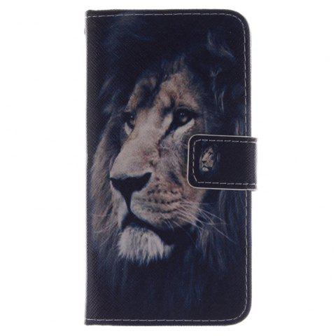 Cover Case for HTC M8 Lion PU+TPU Leather with Stand and Card Slots Magnetic Closure - BLACK