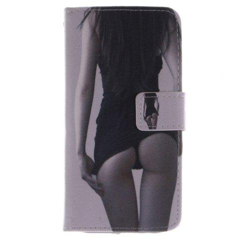 Cover Case for HTC M8 Sexy Girl PU+TPU Leather with Stand and Card Slots Magnetic Closure - BLACK