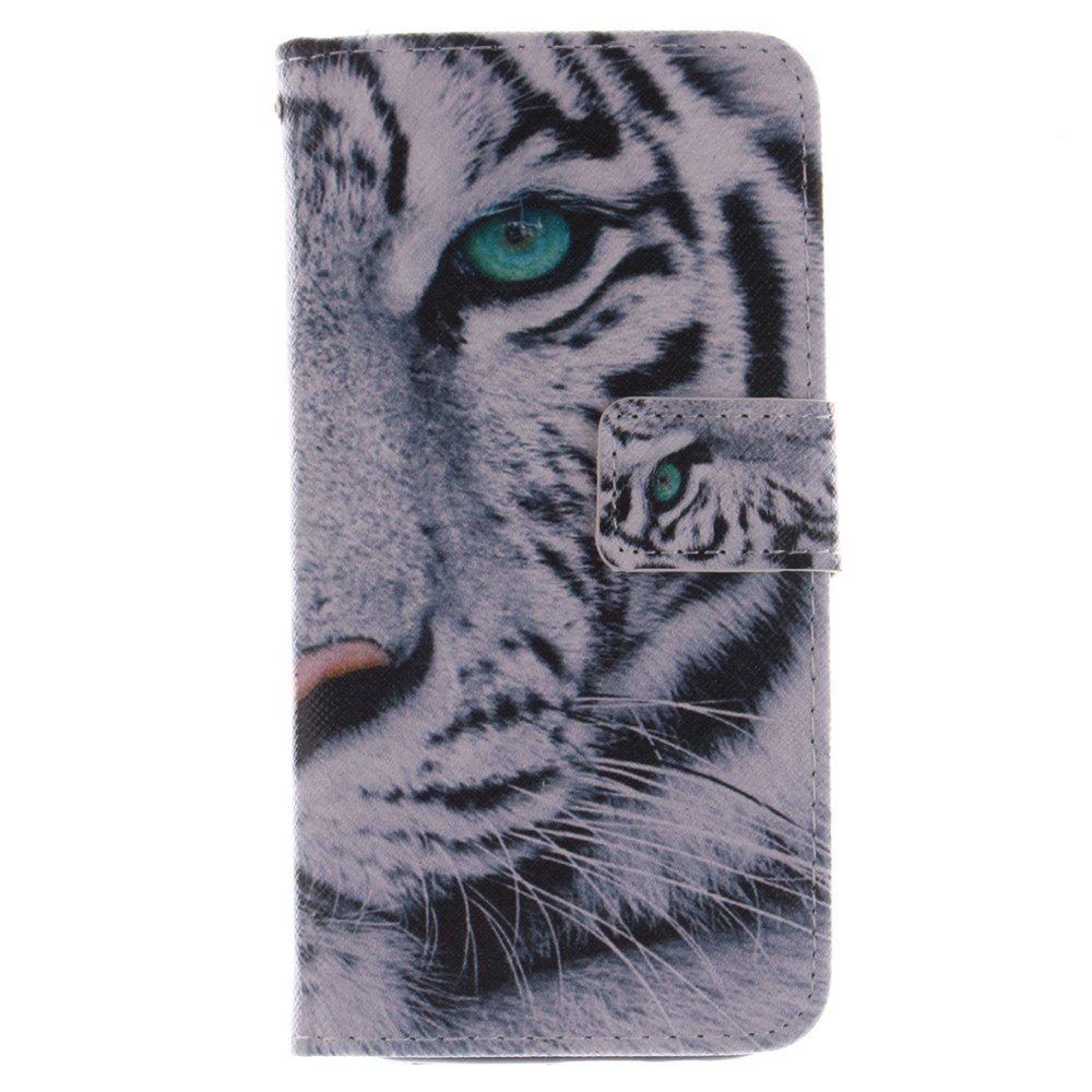 Cover Case for HTC M8 The White Tiger PU+TPU Leather with Stand and Card Slots Magnetic Closure - WHITE